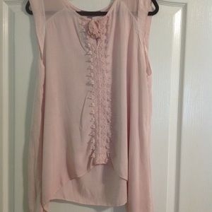 NWT Sheer pink sleeveless blouse with front detail